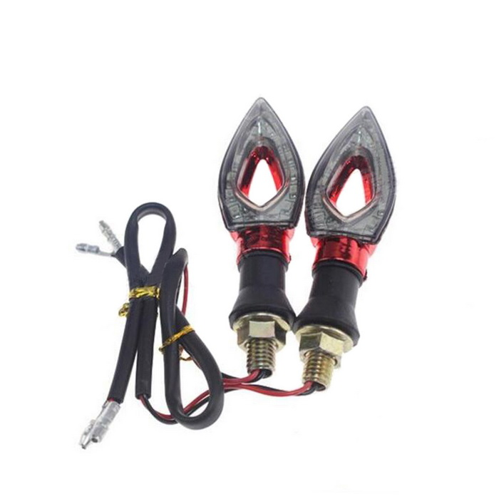 Waterproof DIY 1W 112lm 9-LED Motorcycle Yellow Light Steering Lamp - Black + Red (12V / 2 PCS)