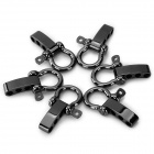 Stainless Steel U Shaped Adjustable 4-Hole Shackle Buckle for Paracord Bracelet - Black (6 PCS)