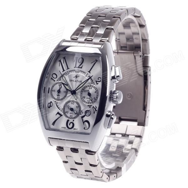 SPEATAK SP9026G Vouge Men's Stainless Steel Band Quartz Wrist Watch w/ Date Display - Silver speatak sp9026g vouge men s stainless steel band quartz wrist watch w date display silver