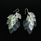 Stylish Leaf  Style 925 Silver Women's Earrings - Silver (Pair)