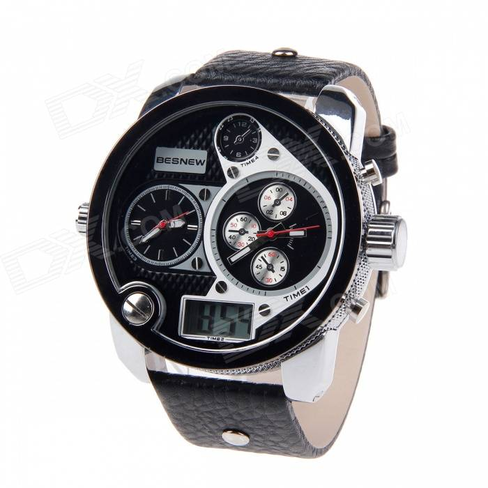 BESNEW Fashion Round Case Men's Three Time Zones Display Wrist Watch - Black + White