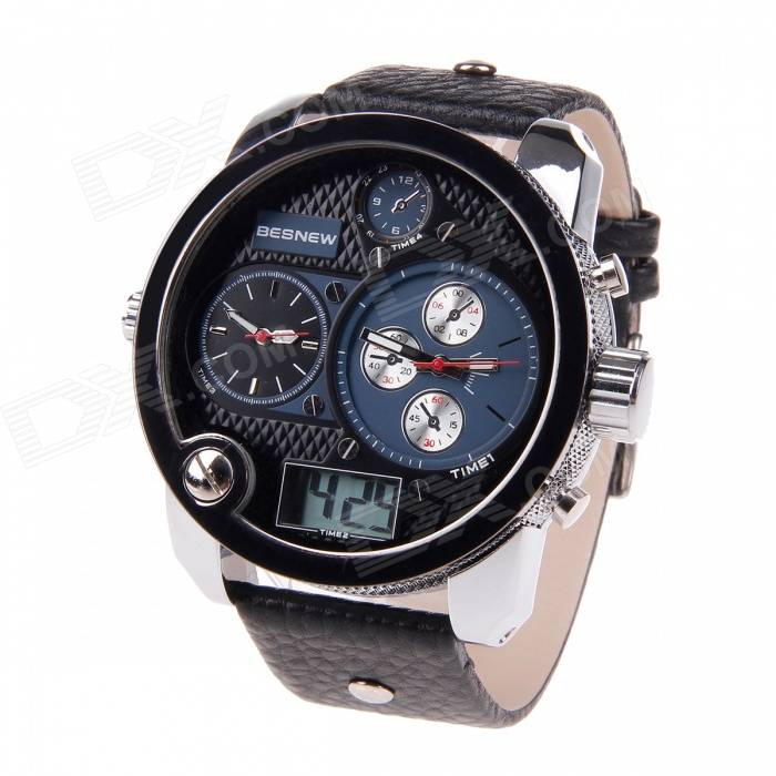BESNEW Fashion Round Case Men's Three Time Zones Display Wrist Watch - Black + Blue
