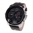BESNEW Fashion Round Case Men's Three Time Zones Display Wrist Watch - Black