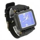 NOYER New Arrival Big Square Dial Silicone Band Men's Quartz Watch w/ Simple Calendar - Black