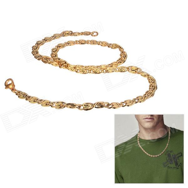 eQute Stainless Steel Men's Chain Necklace - Golden gorgeous 60cm length golden thick braided wheat chain necklace for men