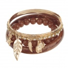 Fashion Women's 6-in-1 Plastic + Zinc Alloy Bracelet - Brown + Gold