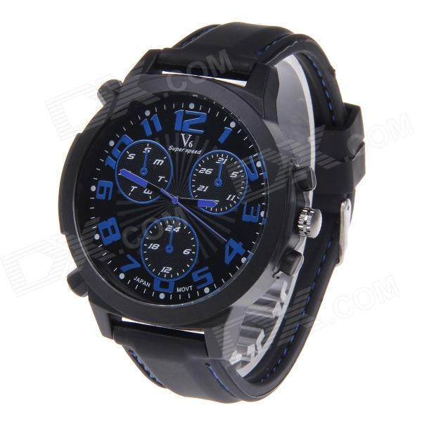 Super Speed V6 NO.V0190 Men's Silicone Band Analog Quartz Wrist Watch - Black + Blue v6 v020 men s sports analog quartz wrist watch w silicone band black red 1 x 626