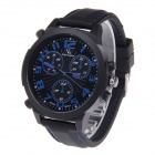 Super Speed V6 NO.V0190 Men's Silicone Band Analog Quartz Wrist Watch - Black + Blue