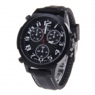 Super Speed V6 NO.V0190 Fashion Men's Silicone Band Quartz Wrist Watch - Black + White