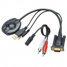 VGA + AV Male to HDMI Female Converter Cable - Black (31cm)