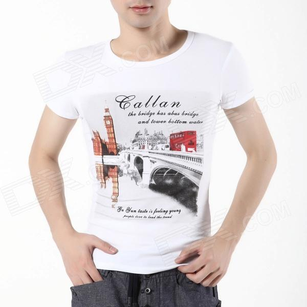FENL D850 Men's Cotton Fashion Print Short Sleeved Round Neck T-Shirt - White (Size XL)