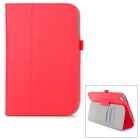 Stylish Flip Open PU Case w/ Hand Strap Holder / Card Slots for Toshiba Encore 8 WT8-AT01A - Red