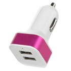 Stylish Car Cigarette Powered Charging Adapter Charger w/ Dual USB Output - Deep Pink + White