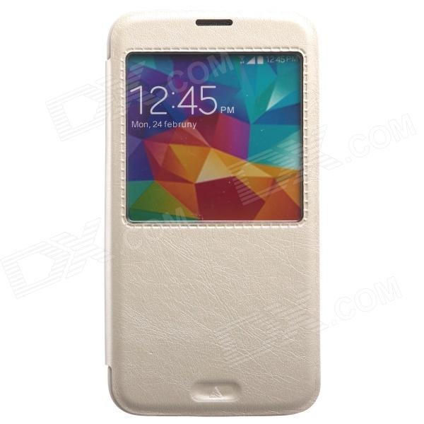 KALAIDENG Protective PU Leather Case Cover Stand w/ Visual Window for Samsung Galaxy S5 - White temei protective pu leather tpu case stand w visual window for samsung galaxy note 3 white