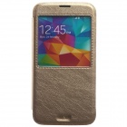 KALAIDENG Protective PU Leather Case Cover Stand w/ Visual Window for Samsung Galaxy S5 - Golden