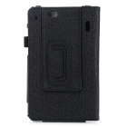 Protective Flip Open PU Case w/ Hand Strap Holder / Card Slots for 7'' Asus Padfone Mini - Black