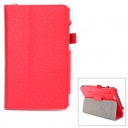 Protective Flip Open PU Case w/ Hand Strap Holder / Card Slots for 7'' Asus Padfone Mini - Red