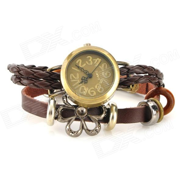 Retro flätade Band armband stil analoga Quartz armbandsur - Brown (1 x 377)