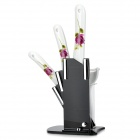 KING DOUBLE KTC-A456PZ-zm Zirconia Ceramic Knife Set - White + Purple