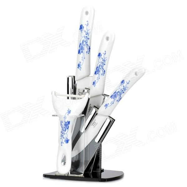 KING DOUBLE KTC-A456PZ-lh Zirconia Ceramic Knife Set - White + Blue professional 7005 aluminum alloy tube clap long track ice blade 64hrc high quality dislocation skate shoes knife 1 1mm frame