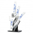 KING DOUBLE KTC-A456PZ-lh Zirconia Ceramic Knife Set - White + Blue