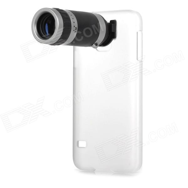 8X Telescope Camera Lens with Back Case for Samsung Galaxy S5 - Black + Silver replacement back camera circle lens for samsung galaxy s5 g900 black