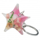 Starfish Style Aquatic Shell Acrylic Stainless Steel Keychain - Pink + White