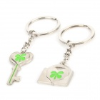 Stainless Steel Lock & Keychain Style Couple Keychains - Silver + Green (2 PCS)