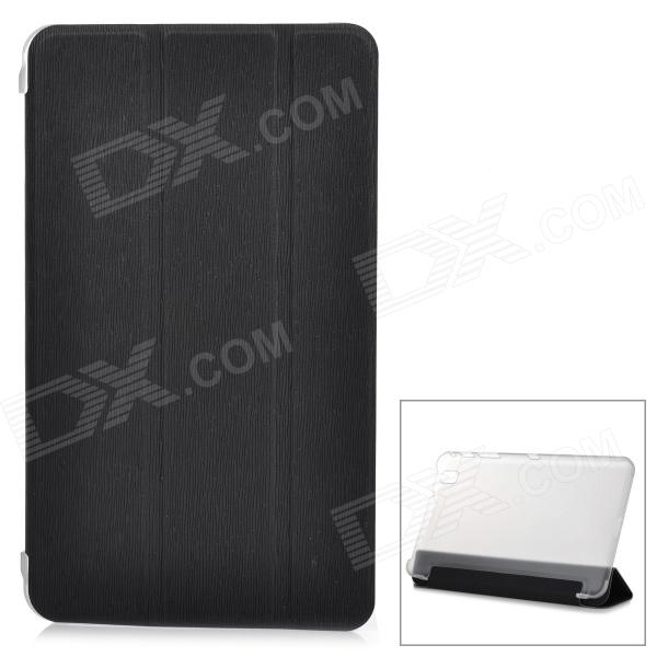 Flip-open PU + PC Case w/ Folding Cover Stand for Samsung T320 - Black + Transparent White