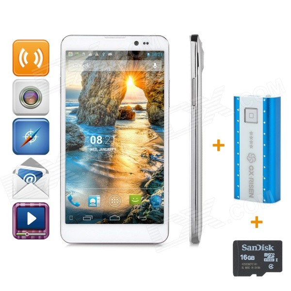 THL T200 Octa-core Android 4.2 WCDMA Bar Phone w/ 6 IPS, Wi-Fi, GPS, RAM 2GB and ROM 32GB - White huawei p6s quad core android 4 2 wcdma bar phone w 4 7 screen wi fi ram 2gb and rom16gb white