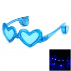 Stylish Heart Shaped Decorative Glasses w/ LED Light for Bar / Night Club / Party - Blue (3 x LR44)