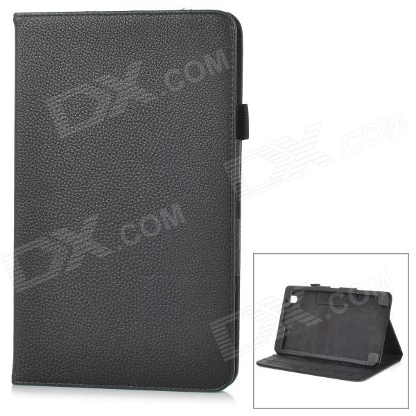 Protective Lychee Pattern Flip-Open PU Leather Case w/ Stand for Samsung T320 - Black lychee pattern flip open protective pu leather case for ipad mini black