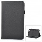 Protective Lychee Pattern Flip-Open PU Leather Case w/ Stand for Samsung T320 - Black