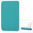 Flip-open PU + PC Case w/ Folding Cover Stand for Samsung T110 - Light Blue + Translucent