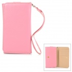 Wallet Style Protective PU Leather Case w/ Card Holder Slots for Samsung Galaxy S3 / S4 / S5 - Pink