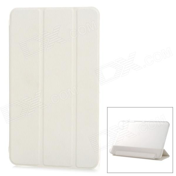 Flip-open PU + PC Case w/ Folding Cover Stand for Samsung T320 - White + Translucent White