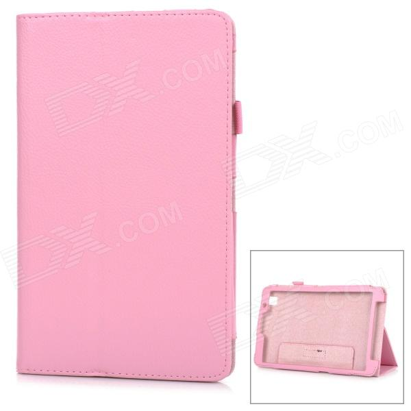 Protective Litchi Pattern Flip-Open PU Leather Case w/ Stand Holder for Samsung T320 - Pink protective pu leather flip open case w stand for samsung note 3 n9000 deep pink light green