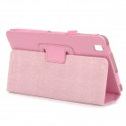 Protective Litchi Pattern Flip-Open PU Leather Case w/ Stand Holder for Samsung T320 - Pink