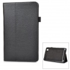 Litchi Pattern Flip-Open PU Leather Case w/ Stand Holder for Samsung T320 - Black