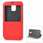 Protective PU Leather + Plastic Case w/ Display Window for Samsung Galaxy S5 - Red