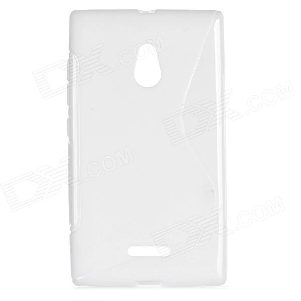 S Style Protective TPU Back Case for Nokia XL - White s pattern protective tpu back case for nokia xl transparent