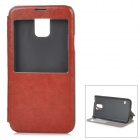 Protective PU Leather + Plastic Case w/ Stand / Window for Samsung Galaxy S5 - Rufous