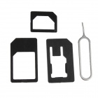 Nano to Micro + Nano SIM Adapter + Micro SIM Adapter w/ Pin for IPHONE 5 - Black