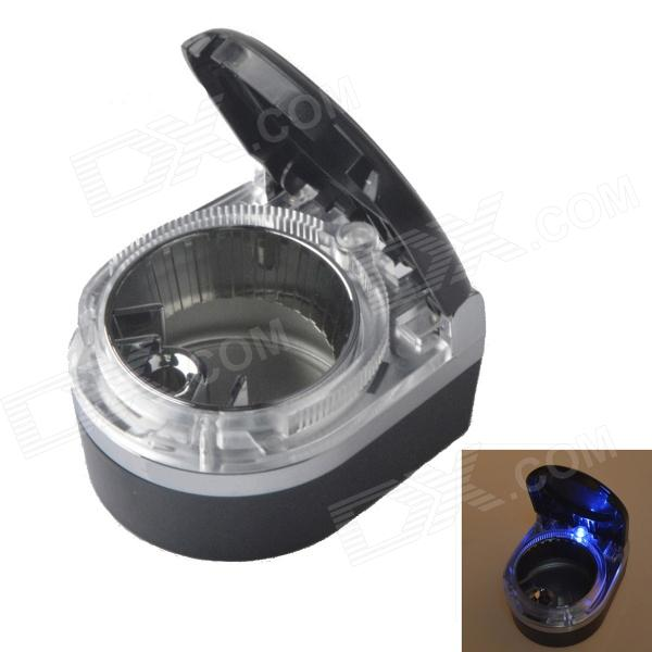 SHUNWEI SD-1201 Convenient Portable Car Ashtray with Blue LED Light - Black + Silver (1 x CR2016)