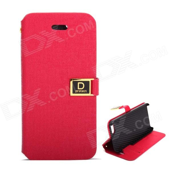 все цены на Protective PU Leather Case w/ Card Slots / Stand for IPHONE 5 / 5S - Deep Pink онлайн