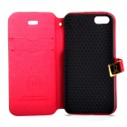 Protective PU Leather Case w/ Card Slots / Stand for IPHONE 5 / 5S - Deep Pink