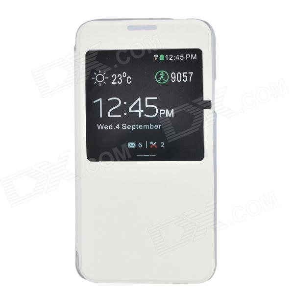 Stylish Flip Open ABS + PU Case w/ Display Window for Samsung Galaxy S5 - White stylish flip open pu pc case w display window for samsung galaxy s5 white