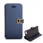 Protective PU Leather Case w/ Card Slots / Stand for IPHONE 5 / 5S - Deep Blue