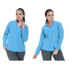 Wind Tour Women's Outdoor Sports Cozy Elastic Dacron Fleece w/ Zip Collar - Blue (L)