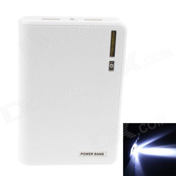 GDW 7000mAh Dual USB External Battery Charger Power Bank w/ USB Cable for IPAD / IPHONE - White